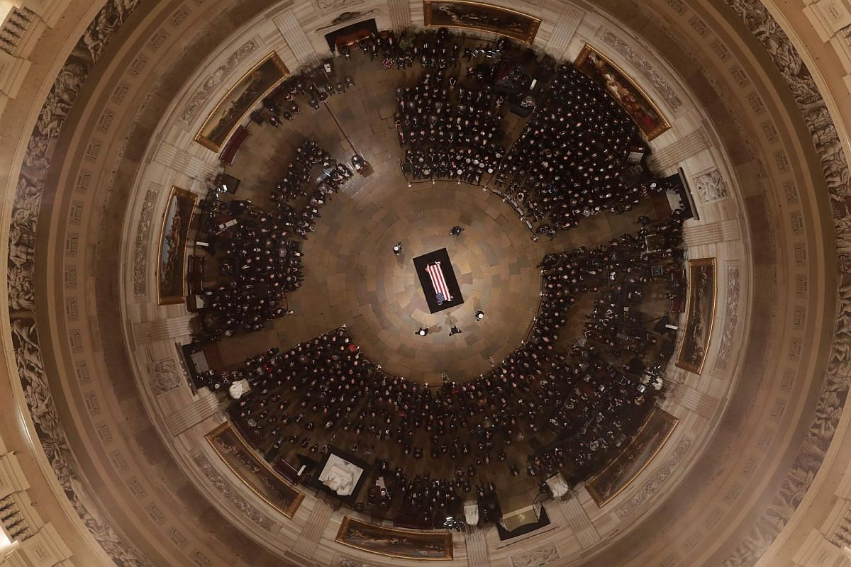 Vice-President Mike Pence speaking as former president George H. W. Bush lies in state at the US Capitol Rotunda on Dec 3, 2018, in Washington, DC.