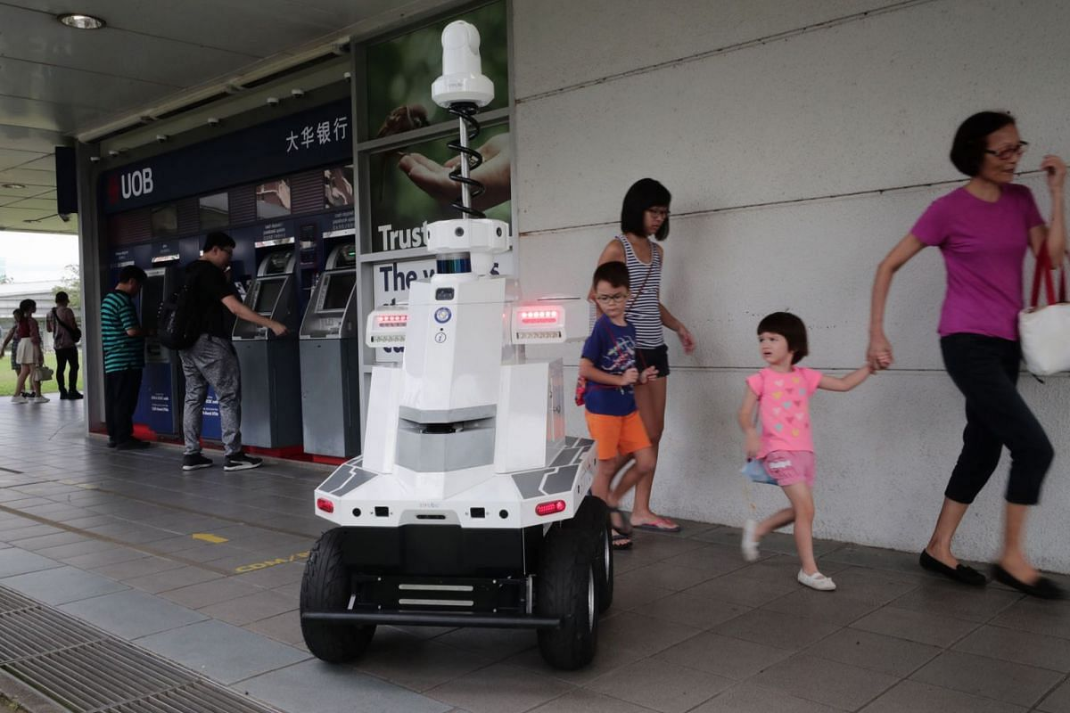 The robot deployed by LTA during Exercise Station Guard at Hougang MRT station on Dec 5, 2018. Developed by ST Engineering, it is equipped with seven cameras to give it a 360-degree view, and has GPS and other sensors. PHOTO: THE STRAITS TIMES/KELVIN
