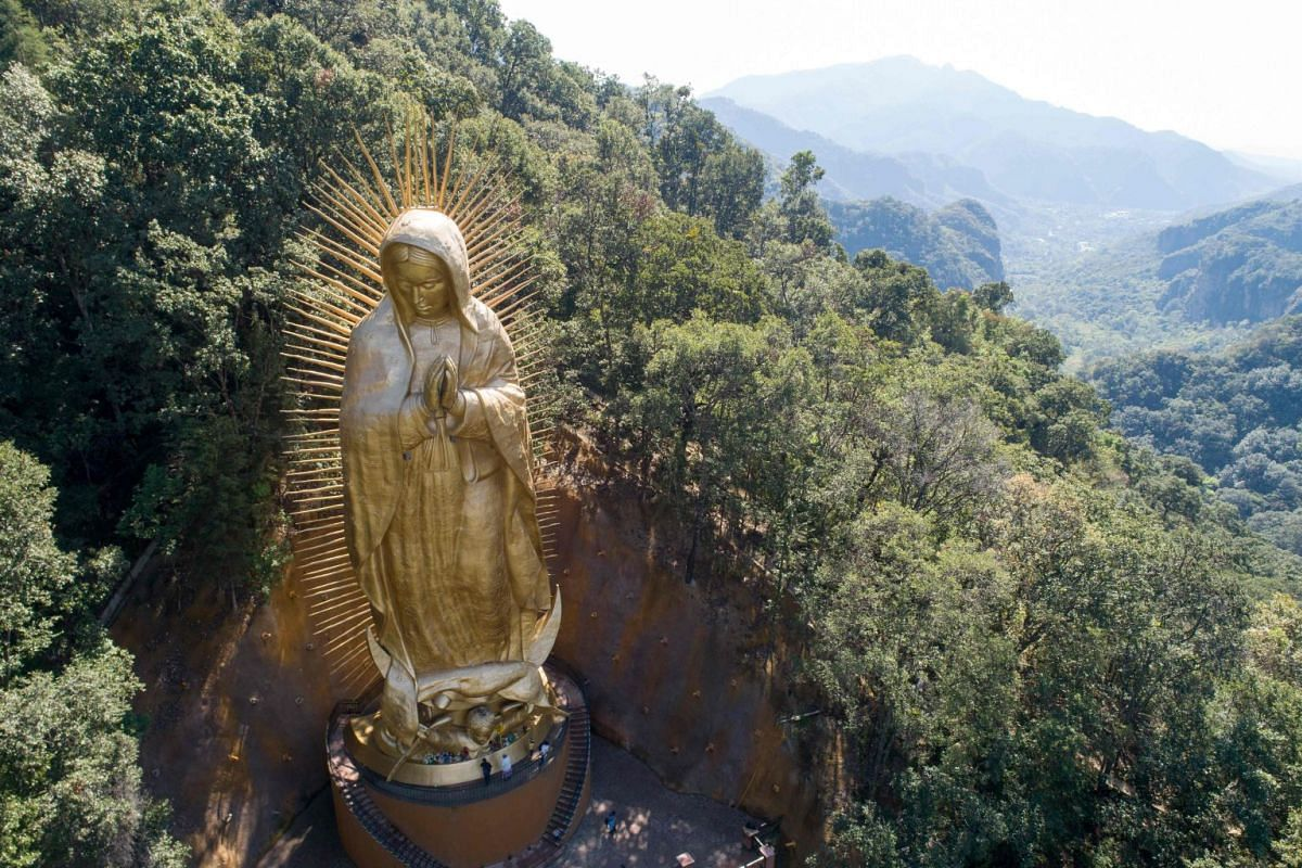 A view of the Virgin of Guadalupe giant statue in Ocuilan, Mexico state, Mexico on December 5, 2018. PHOTO: AFP