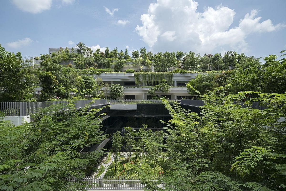 The hawker centre in Kampung Admiralty, which also has an active-ageing hub and a childcare centre. A community park and gardens on the roof for residents to meet up and chat at. Architect Pearl Chee led Woha's project team for Kampung Admiralty. A s
