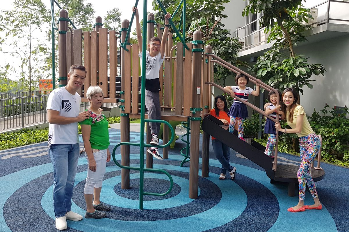 Physiotherapist Felicia Seet (above right) encourages her children's caregivers and family members to take the kids out, such as to the playground. From left: Ms Seet's husband Alan Tem and mother-in-law Madam Tan Kim Moy; son Adler; maid Judith