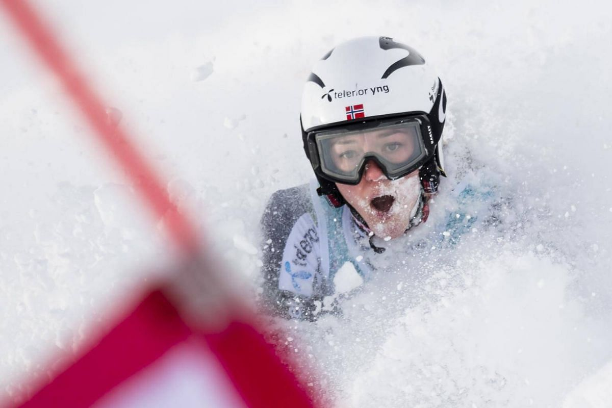 Thea Louise Stjernesund reacts after a crash during the women's parallel slalom qualifying event at the FIS Alpine Ski World Cup in St Moritz, Switzerland, on Dec 9, 2018.