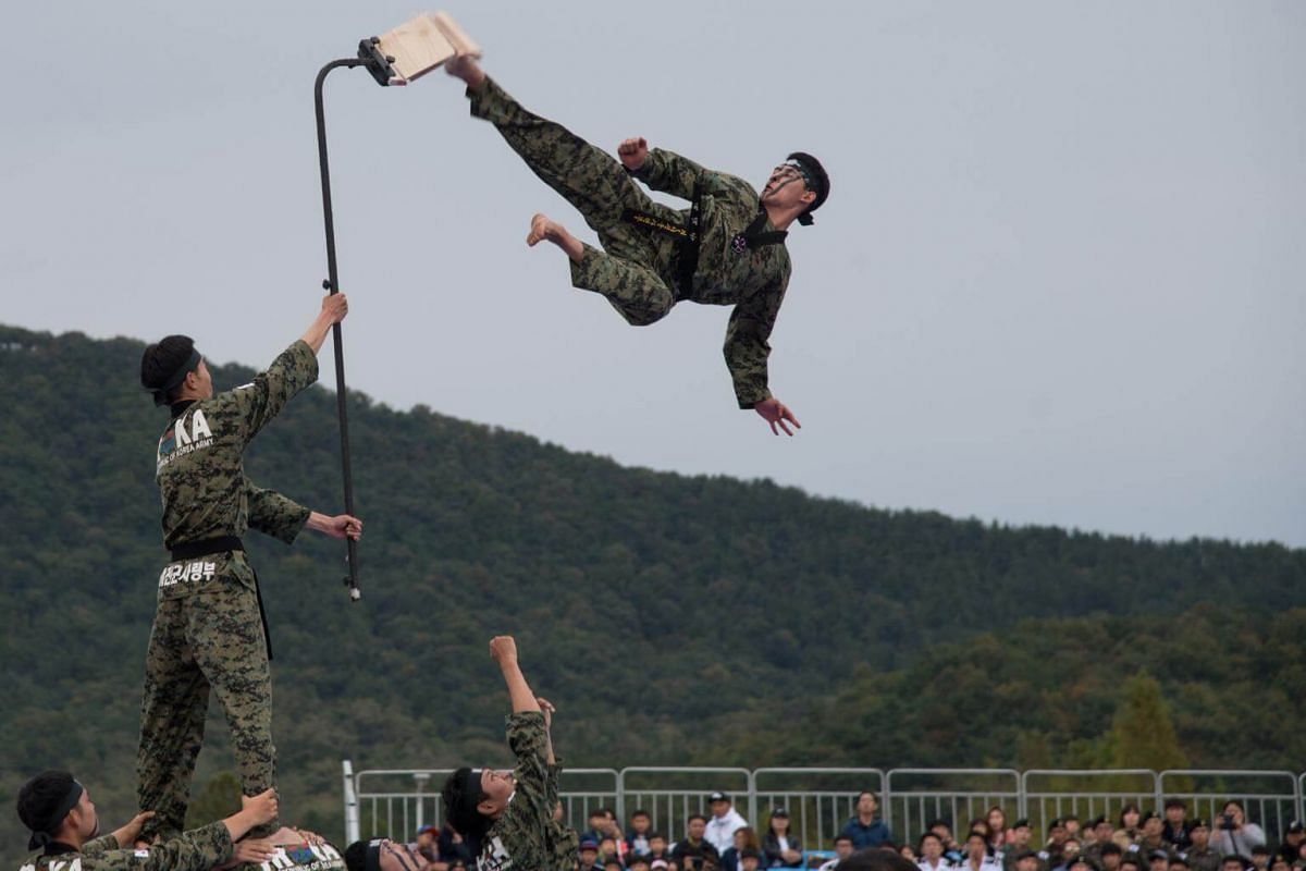 South Korean soldiers giving a martial arts demonstration during the annual Ground Forces Festival with United States troops in Gyeryong, South Korea, on Oct 9, 2018.