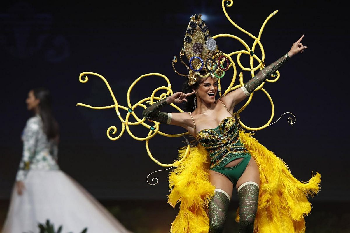 Miss Jamaica, Emily Maddison, poses in her national costume during the Miss Universe 2018 national costume contest at Nongnooch International Convention and Exhibition Center in Pattaya, Chonburi province, Thailand, on Dec 10, 2018.
