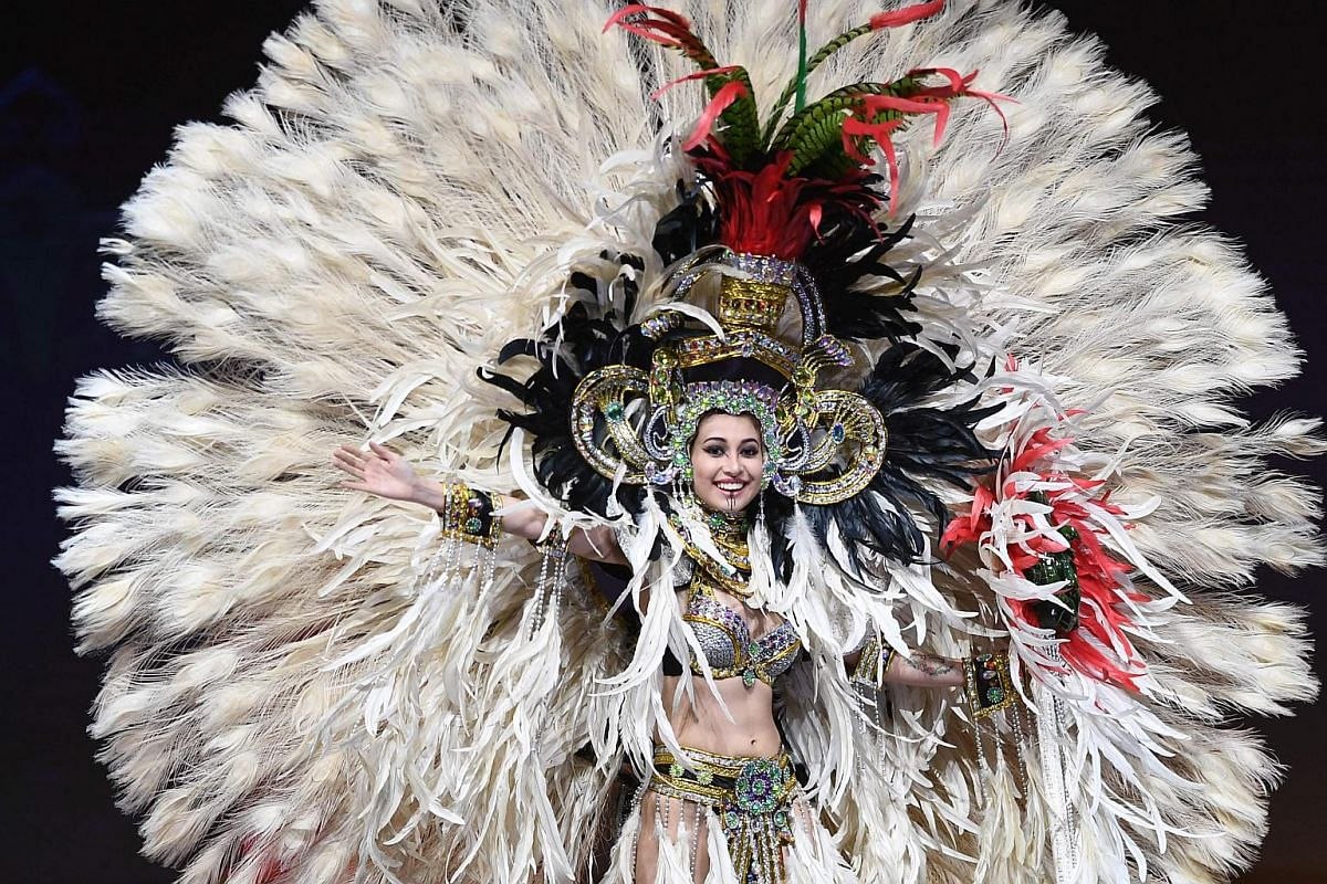 Miss Guatemala, Mariana García, walks on stage during the 2018 Miss Universe national costume presentation in Chonburi province on Dec 10, 2018.