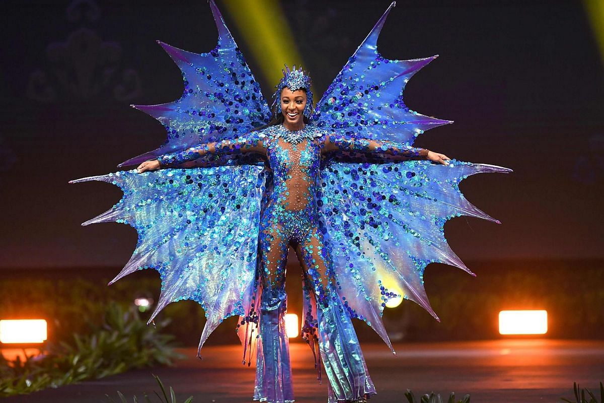 Miss Barbados, Meghan Theobalds, walks on stage during the 2018 Miss Universe national costume presentation in Chonburi province on Dec 10, 2018.