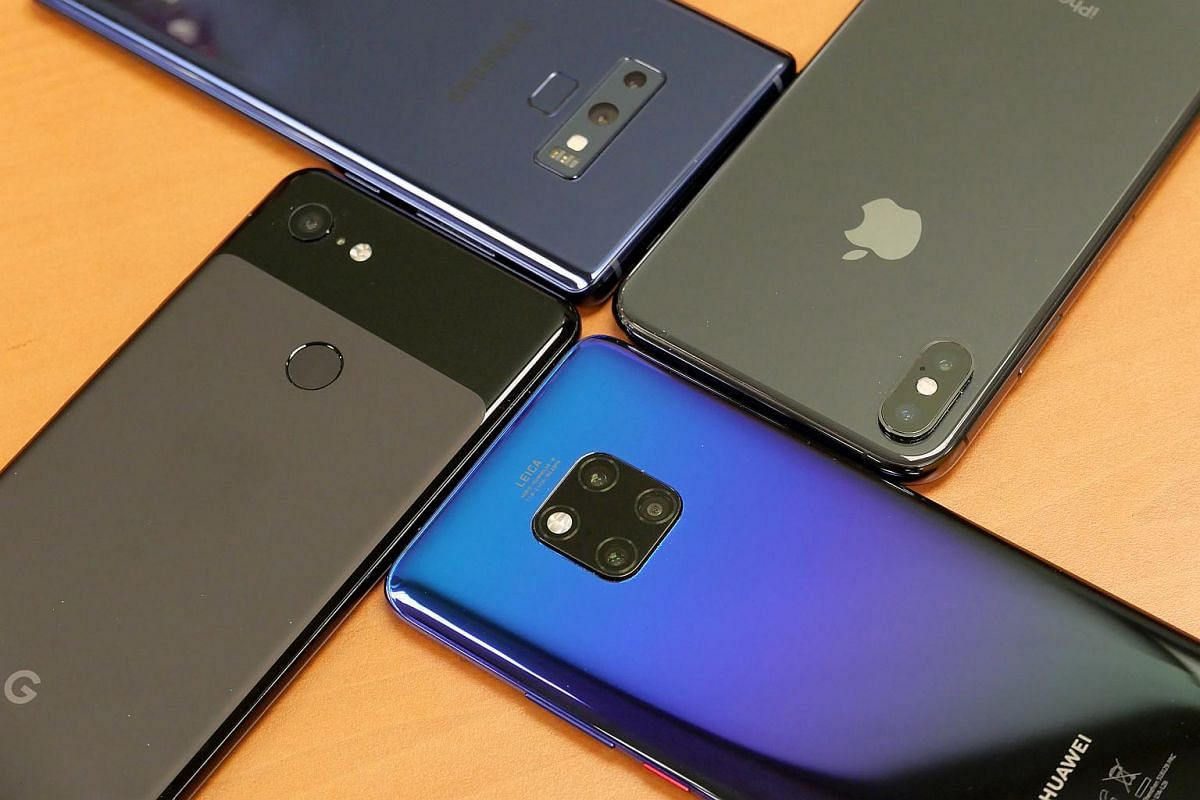 (From top right clockwise) Samsung Galaxy Note9, Apple iPhone XS Max, Huawei Mate 20 Pro and Google Pixel 3 XL.