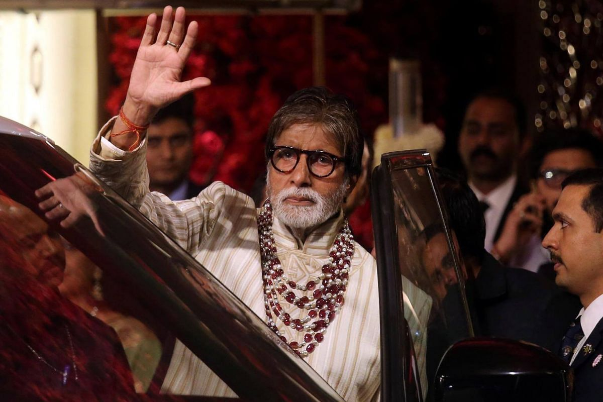 Bollywood actor Amitabh Bachchan leaves after attending the wedding ceremony in Mumbai, on Dec 12, 2018.