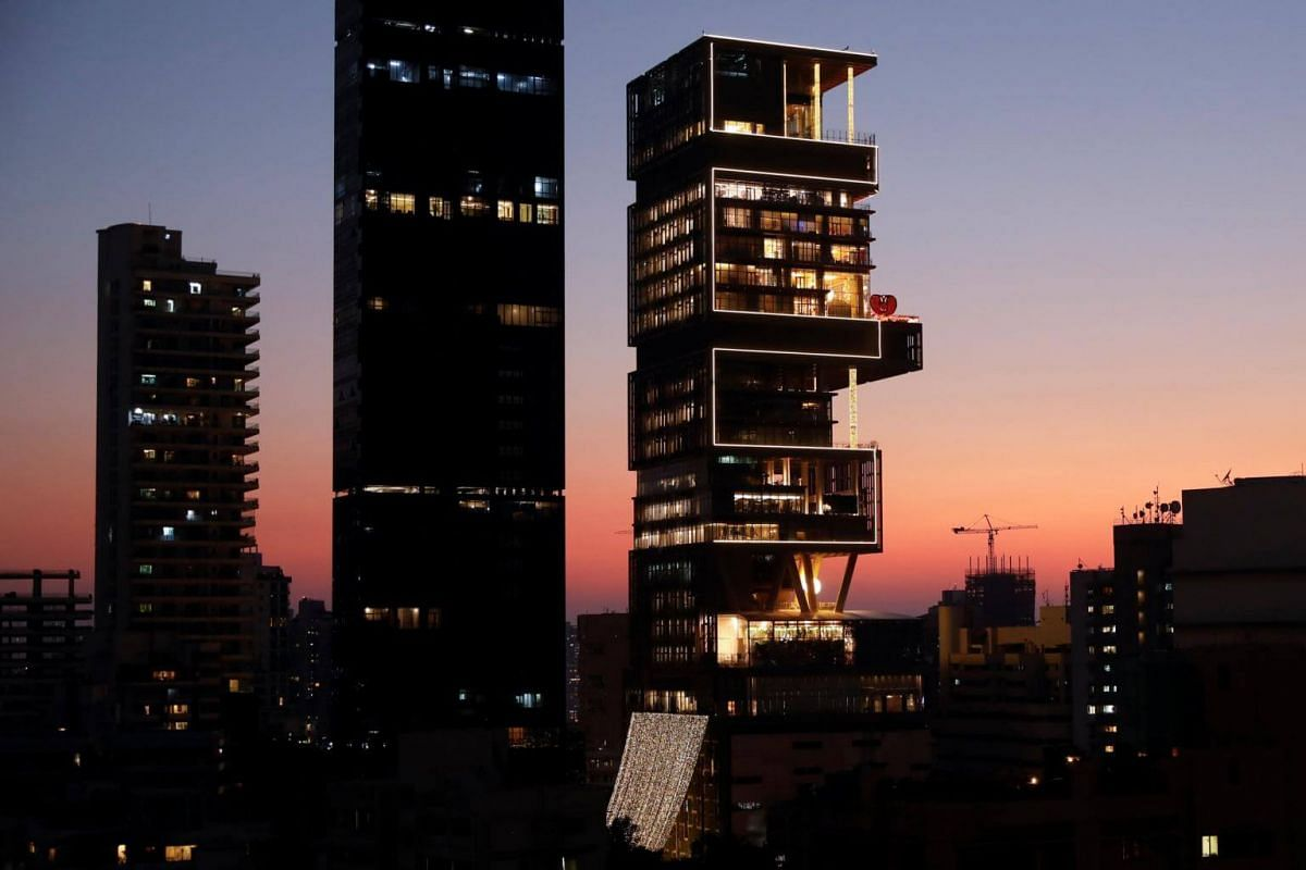 Antilia, the house of the chairman of Reliance Industries Mukesh Ambani, is decorated during his daughter's wedding, in Mumbai, on Dec 12, 2018.