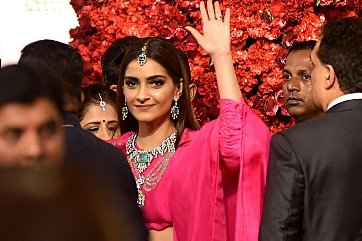 Bollywood actress Sonam Kapoor at the wedding ceremony.