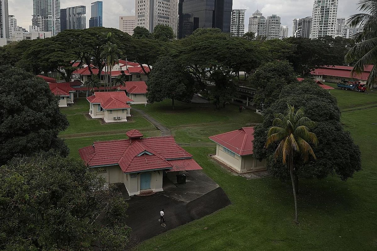 An aerial view of the sprawling compound of the Communicable Disease Centre. The CDC ceased operations last Thursday and will be demolished. It has been replaced by the National Centre for Infectious Diseases (left of the black building), a new 330-bed fa