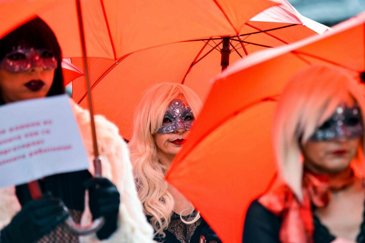 Sex workers demonstrate to call for the end of the violence perpetrated against them and punishment for the culprits, in Skopje, Macedonia, on Dec 17, 2018.