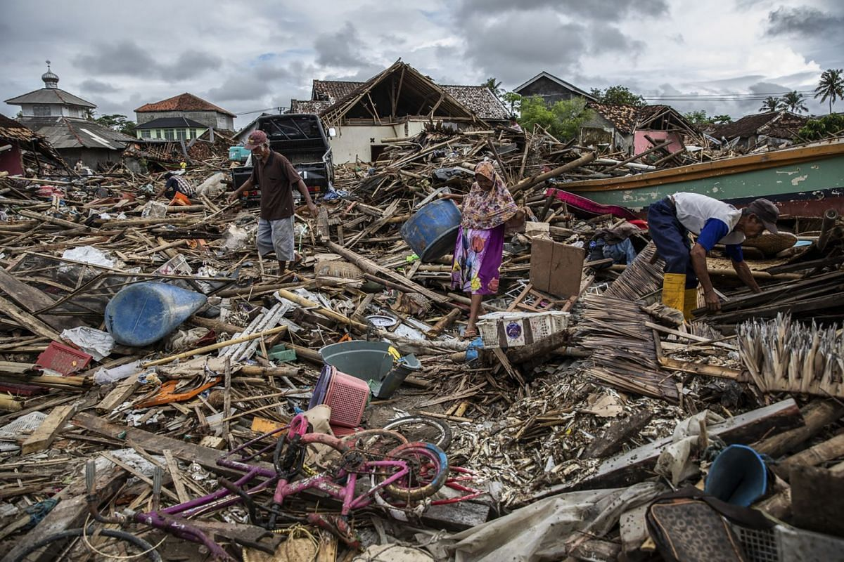 December 25, 2018 - The aftermath of the 10-foot-high tsunami that hit Sumur, Indonesia on Saturday. More than 400 people have been killed and 16,000 displaced. Officials are still investigating the cause, but volcanic activity on the island of Anak