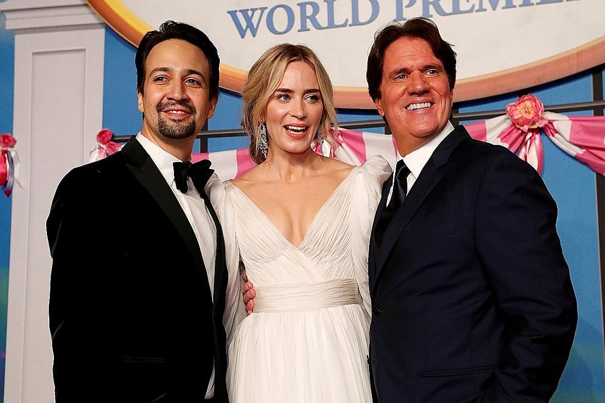 Actress Emily Blunt (centre), star of Mary Poppins Returns, when she first learnt about the project from director Rob Marshall (right). It also co-stars Lin-Manuel Miranda (left).