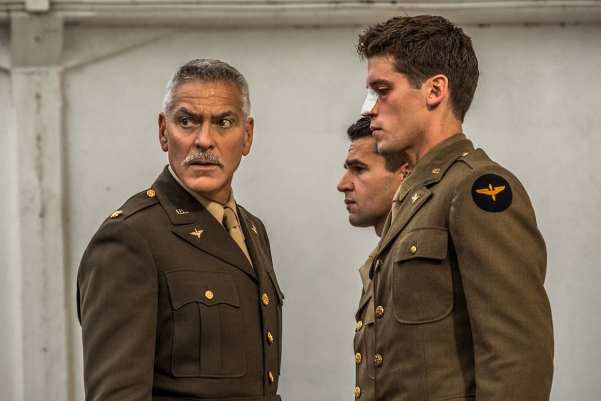 (From left) George Clooney, Christopher Abbott and Pico Alexander in Catch-22.