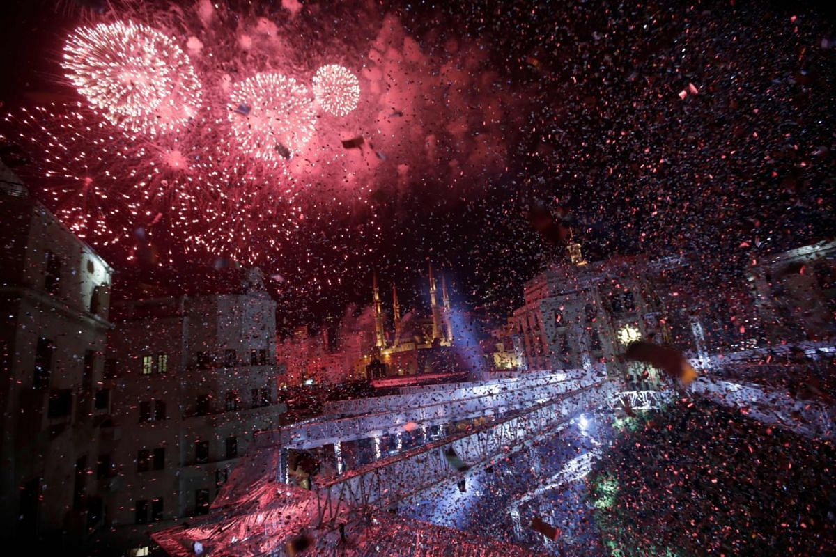 Fireworks over downtown Beirut, Lebanon, during New Year celebrations on Jan 1, 2019.