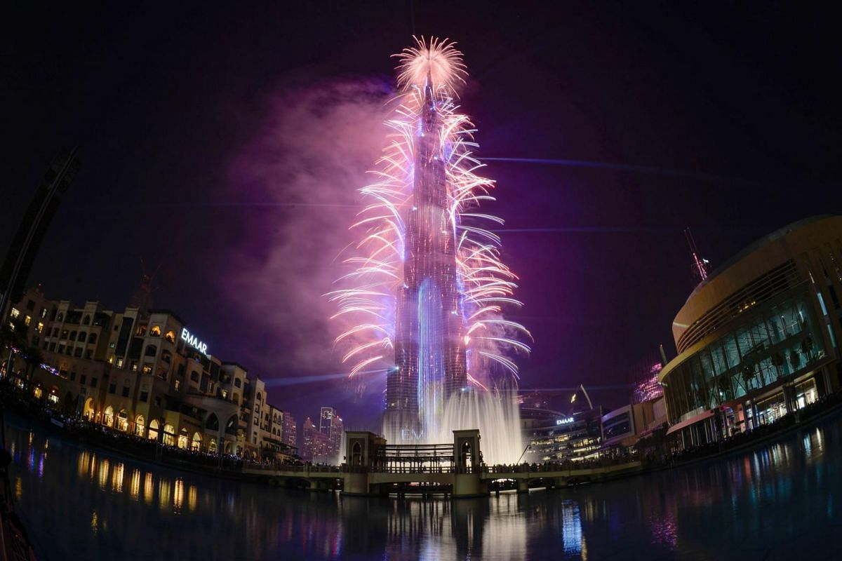 Fireworks explode at the Burj Khalifah, said to be the world's tallest building, on New Year's Eve to welcome 2019 in Dubai, United Arab Emirates, on Dec 31, 2018.