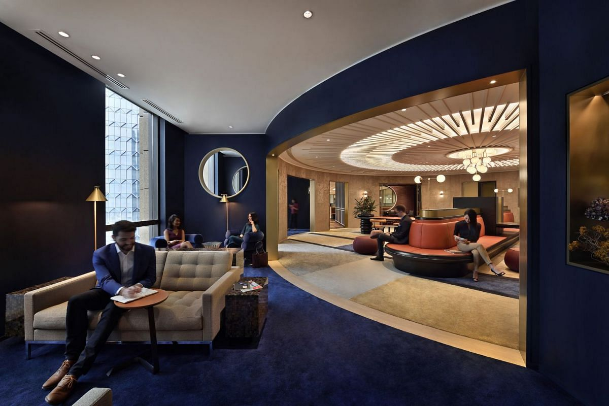 Hong Kong-based operator The Work Project's Parkview Square outlet (above) boasts hospitality-inspired interiors.