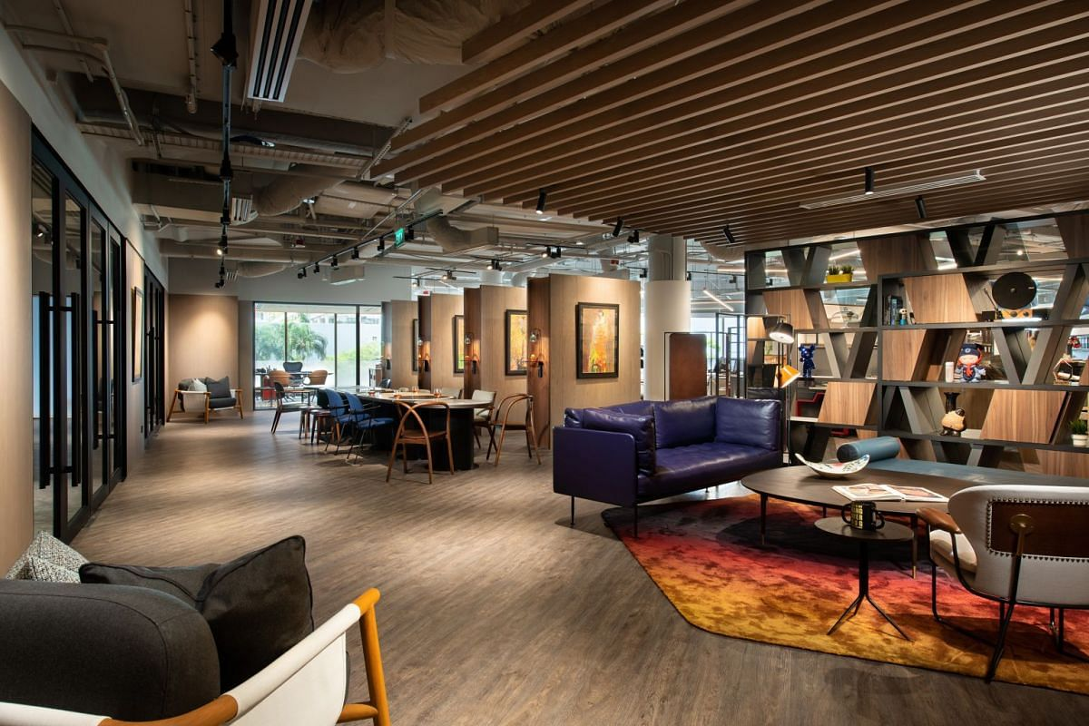 Co-working operator JustCo's Marina Square outlet houses more than 1,000 members, with its biggest tenant being American luxury interior design firm Wilson Associates (above).