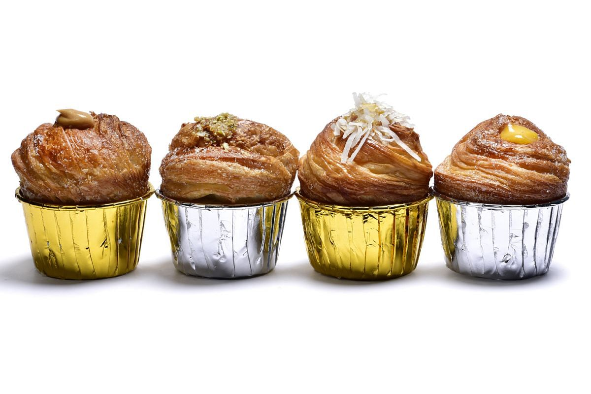 Bakery Brera in Empress Road offers four flavours of cruffins – (from left) Peanut Butter, Nutty Salted Caramel, Kaya and Lemon Curd.