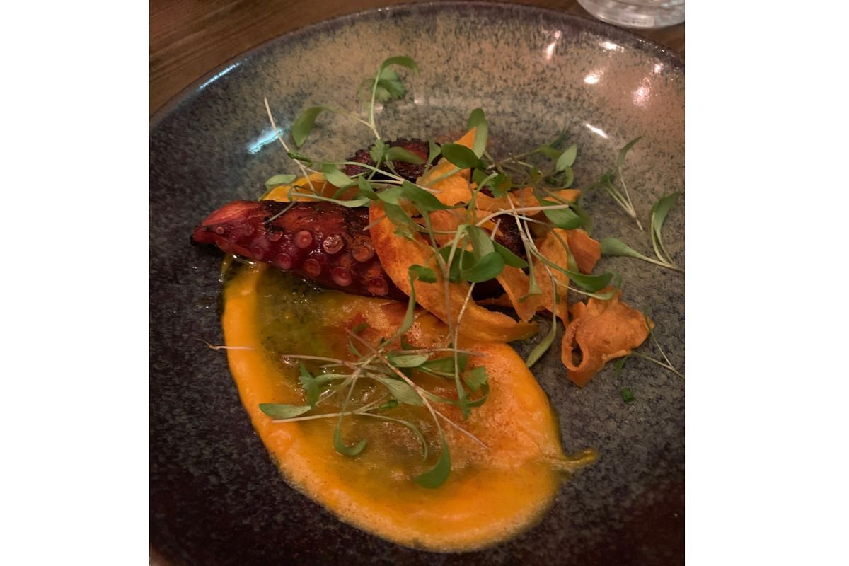 The Anchor And Hope's braised rabbit tastes like superb kampung chicken, flavourful but not gamey; and Bar Douro's Octopus with Sweet Potato (above) has a smoky, perfectly grilled octopus tentacle with thick-cut sweet potato chips.