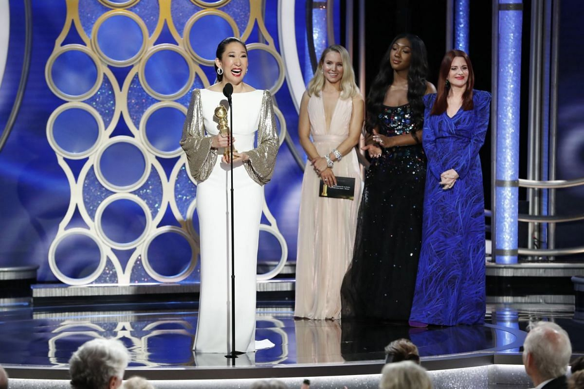 Sandra Oh accepting the award for Best Actress in a TV Series (Drama) for her role in Killing Eve.