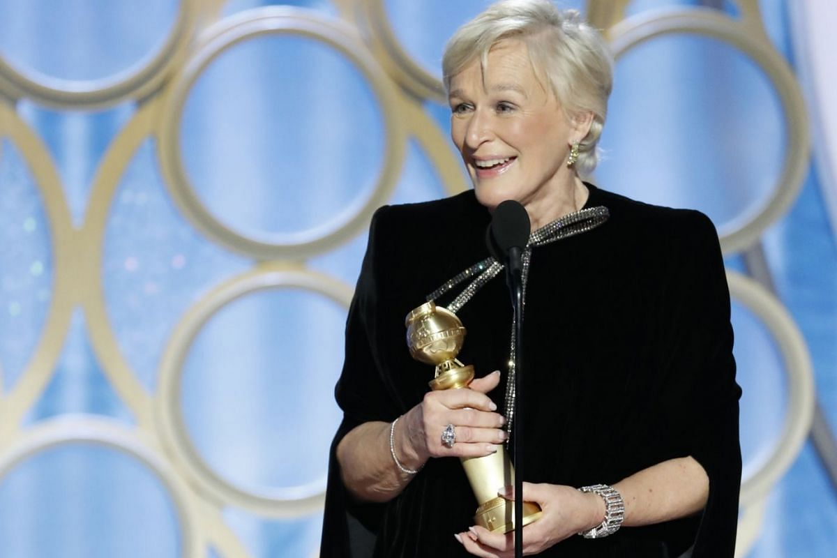 Glenn Close accepting the award for Best Actress in a Movie (Drama) for her role in The Wife.