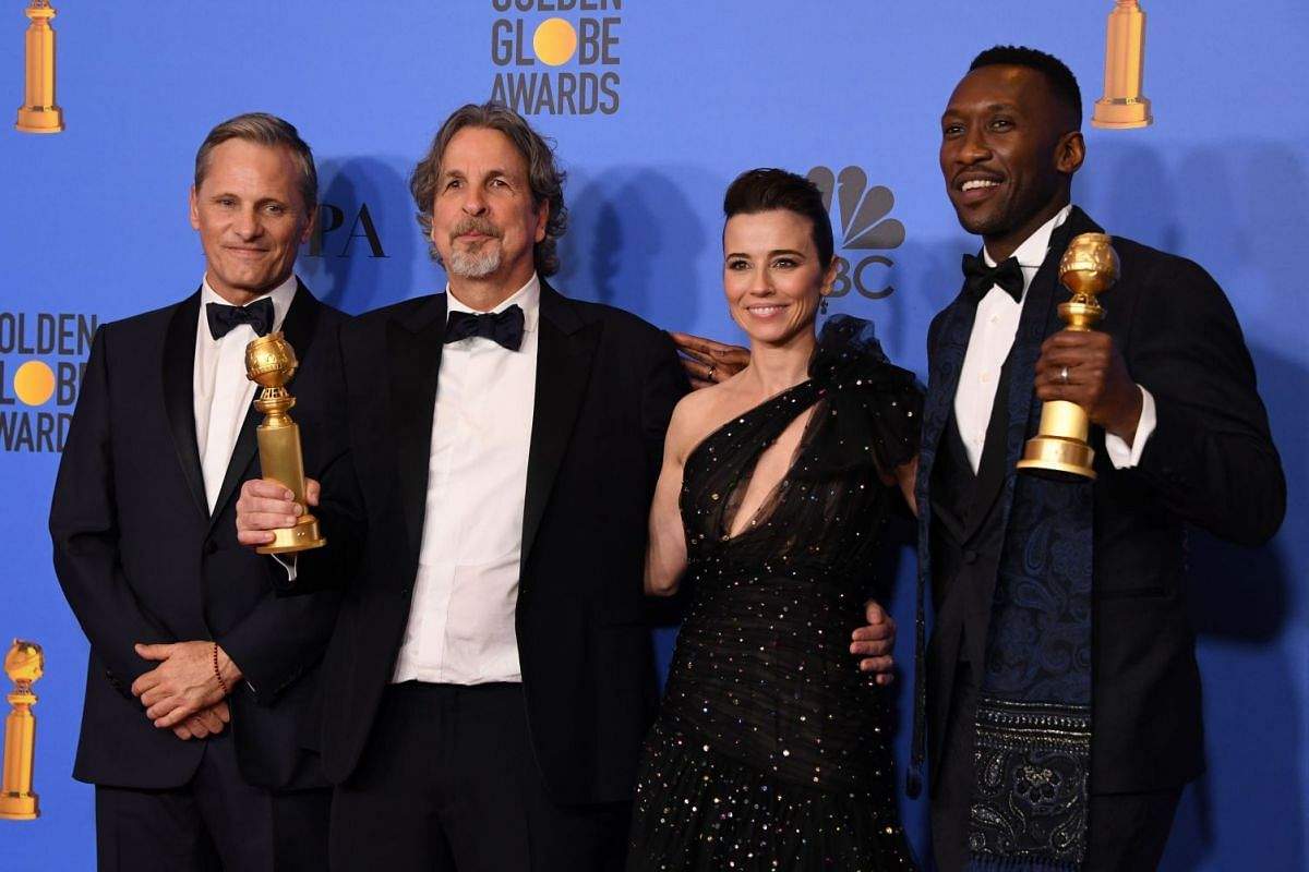 (From left) Viggo Mortensen, Peter Farrelly, Linda Cardellini and Mahershala Ali of Green Book, which bagged Best Movie (Musical or Comedy). Ali won Best Supporting Actor in a Movie.