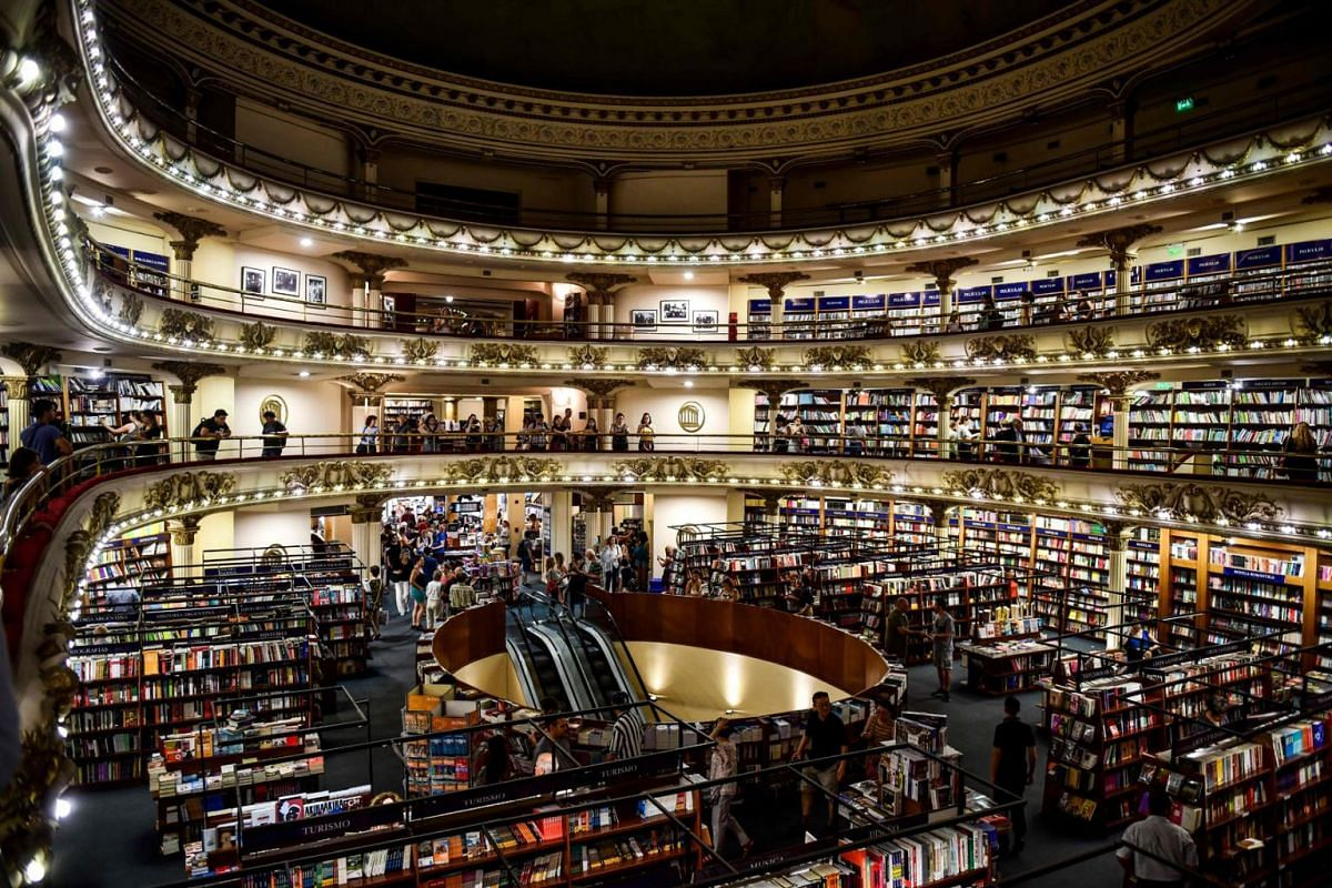 """View of the """"El Ateneo Grand Splendid"""" bookstore in Buenos Aires, Argentina, on January 9, 2019. El Ateneo Grand Splendid is a bookshop in Buenos Aires that was named the """"world's most beautiful bookstore"""" by National Geographic in 2019. PHOTO: AFP"""