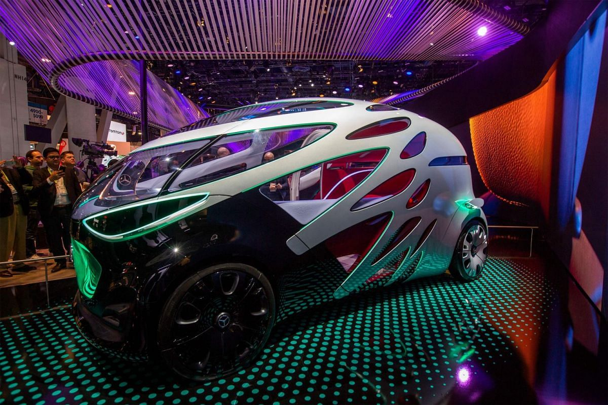 The Mercedes-Benz Vision Urbanetic autonomous vehicle is displayed at the Las Vegas Convention Center during CES 2019 on January 9, 2019. PHOTO: AFP