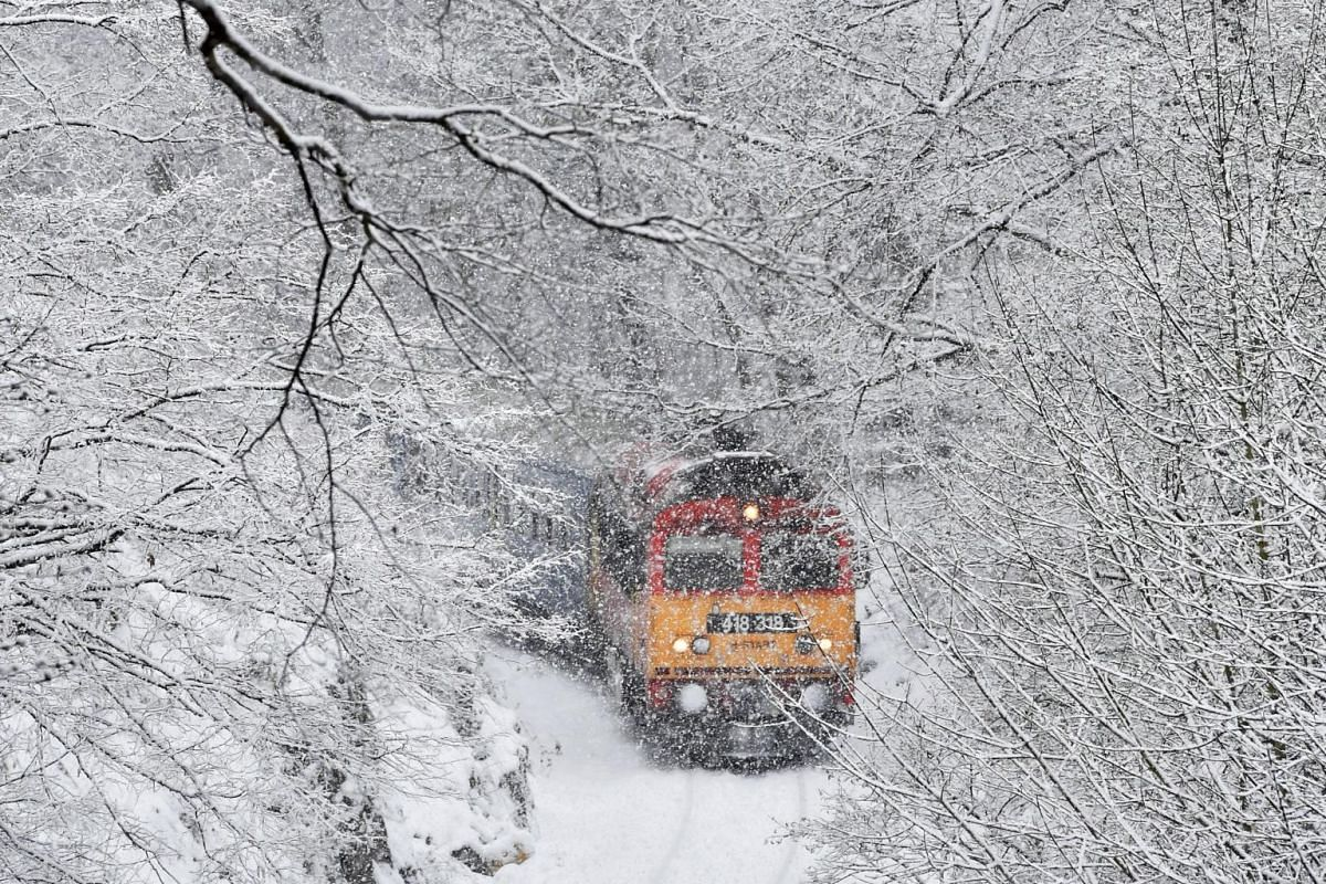 A passenger train crosses the Cuha Valley during a heavy snowfall near Vinnye, about 140km west of Budapest, Hungary.