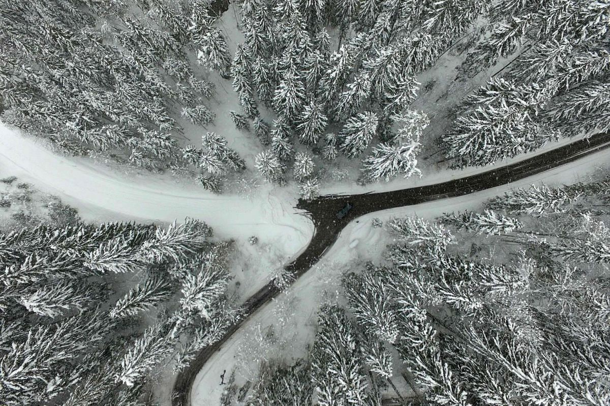 A blocked road in the snow-covered landscape around Schladming, Austria.