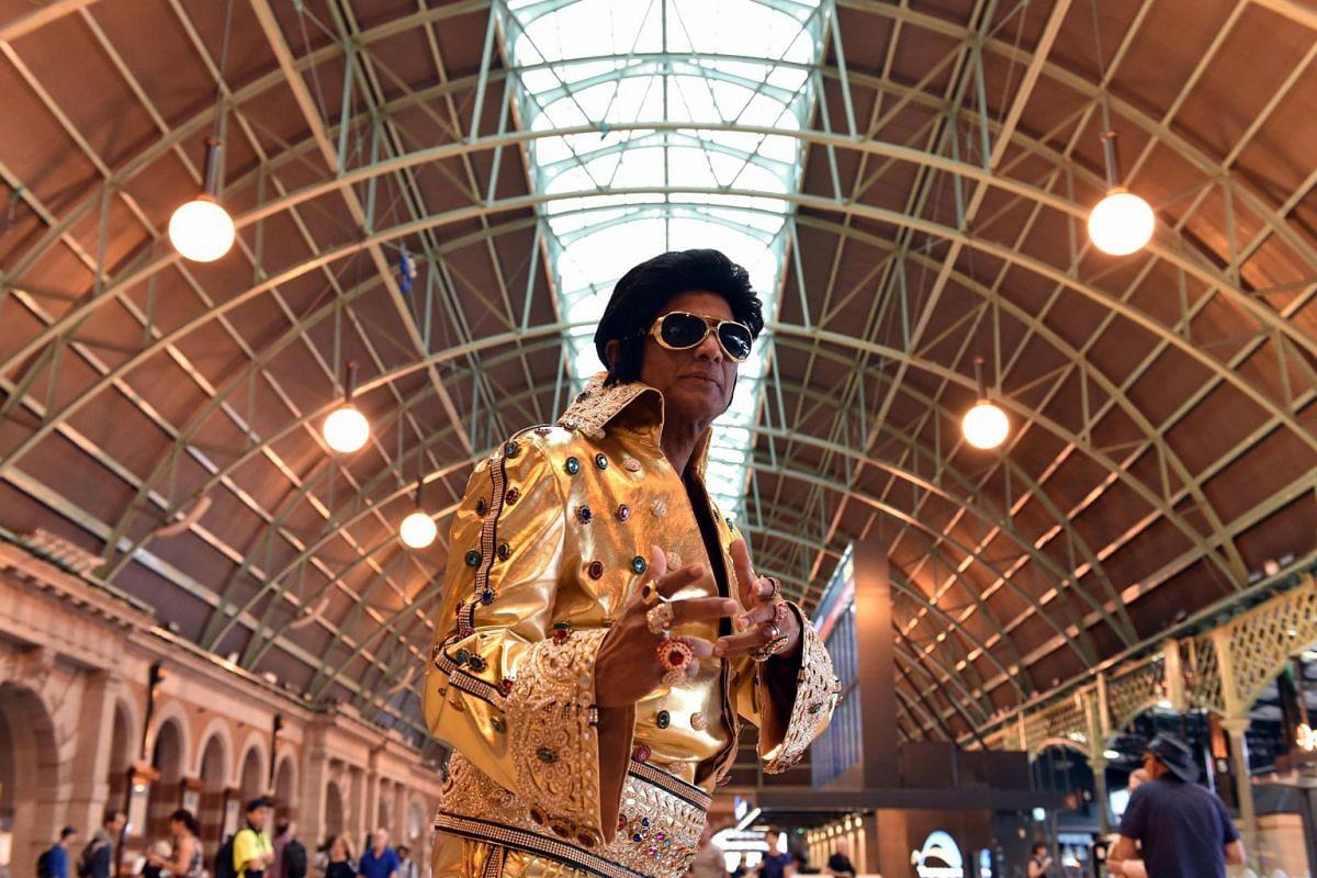 Elvis impersonator Alfre Vaz at Central Station in Sydney on Jan 10, 2019.
