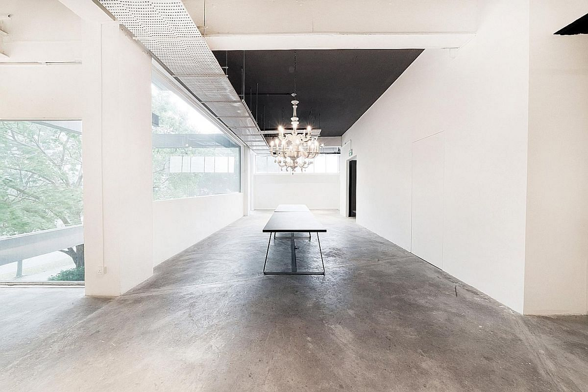 Available for rent: Maison Miaja event space (top) in APS Building on Muthuraman Chetty Road, an art gallery on a regular day; Cargo39 (above), a warehouse space in Tanjong Pagar Distripark; and boutique creative agency Chun Tsubaki (right) in Tai Se