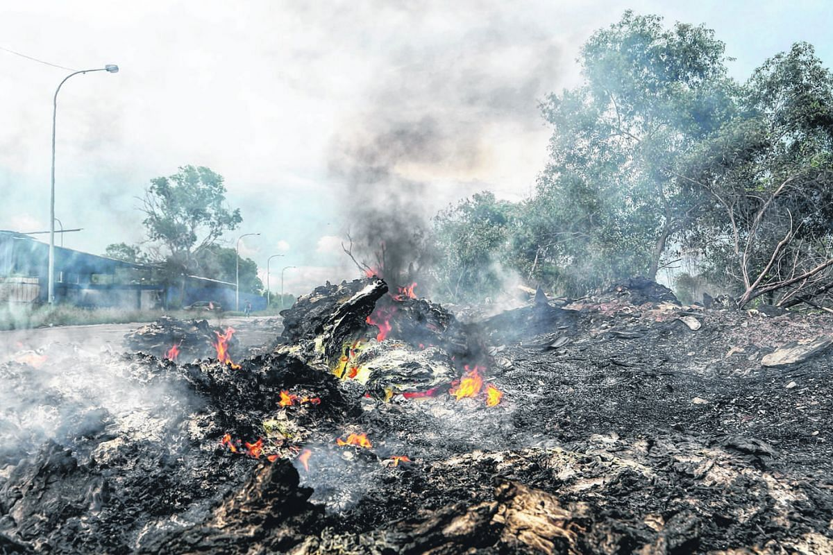 A plastic waste dumpsite near a prawn farm in Jenjarom. Entire batches of prawns have reportedly died. An illegal waste factory in Jenjarom. Greenpeace estimates that there are about 500 illegal plastic waste facilities around Selangor as of October