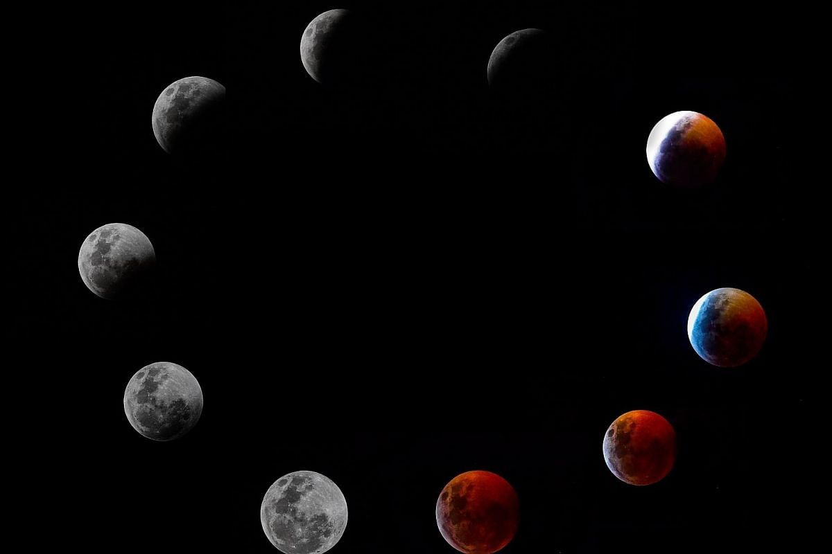A composite photo shows all the phases of the so-called Super Blood Wolf Moon total lunar eclipse on Jan 20, 2019 in Panama City.