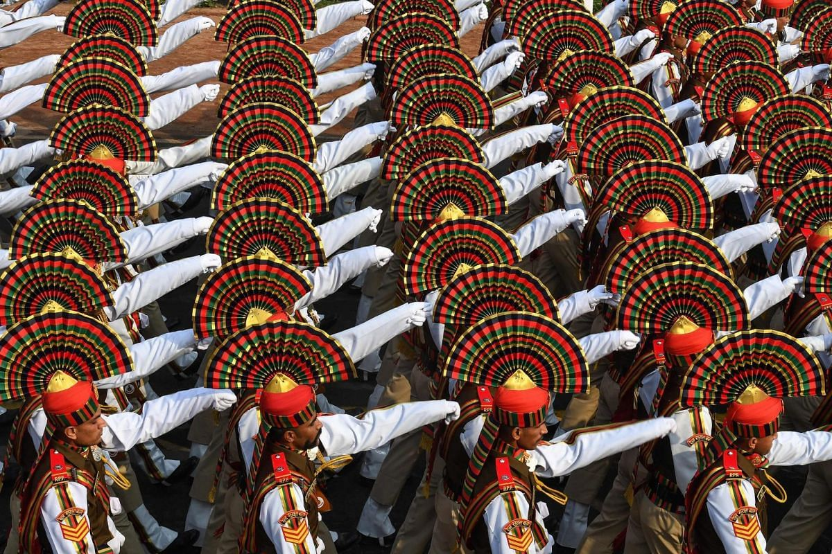 India's Rail Suraksha Force contingent marches during the full dress rehearsal for the upcoming Republic Day parade in New Delhi, on Jan 23, 2019.