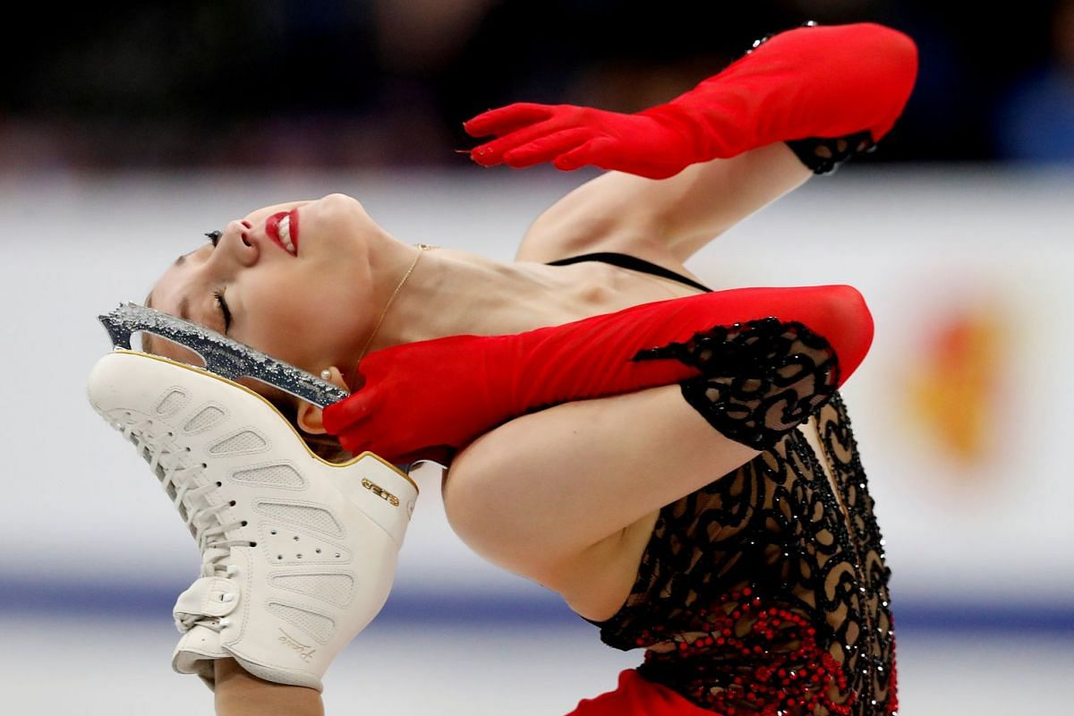 Switzerland's Alexia Paganini performs at the ISU European Figure Skating Championships at the Minsk-Arena Multifunctional Complex in Belarus, on Jan 23, 2019.