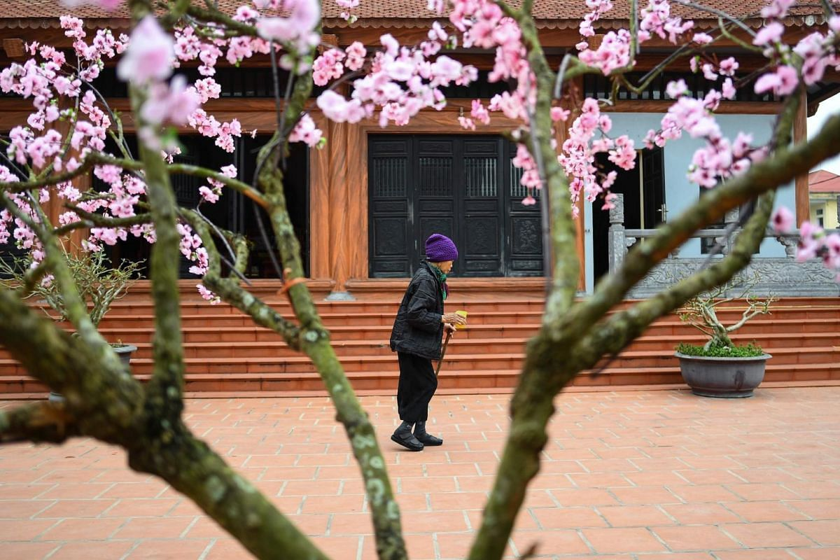 A leprosy survivor leaves a pagoda after offering prayers in the Van Mon Leprosy Hospice compound.