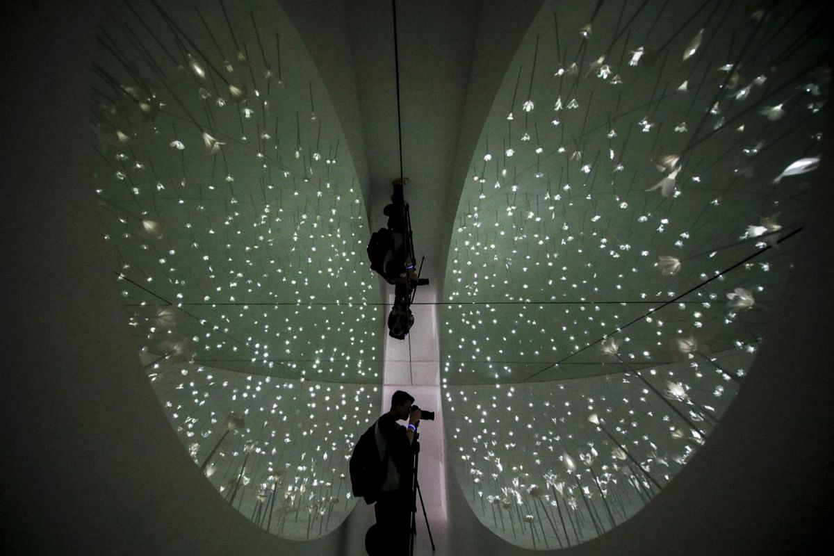 A photographer is seen between an installation titled Why Green by DP Architects during the i Light Festival in Singapore on Jan 24, 2019.