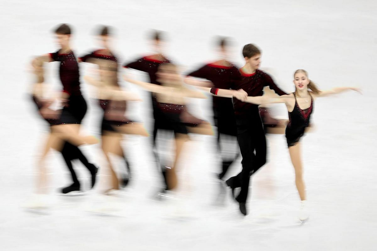 A multiple exposure picture of Minerva Fabienne Hase and Nolan Seegert of Germany performing during the Pair Free Skating programme of the ISU European Figure Skating Championships in Minsk, Belarus, on Jan 24, 2019.