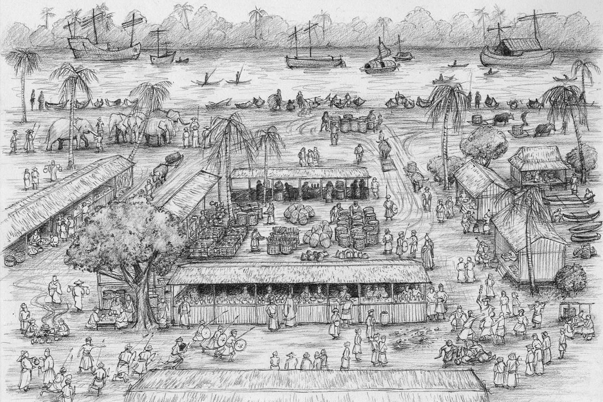 Left: Before the pubs and restaurants moved in, coolies along the banks of the Singapore River in 1960 looked to storytellers for entertainment. Scenes from The Bicentennial Experience at Fort Canning Centre will include a depiction of Raffles and hi