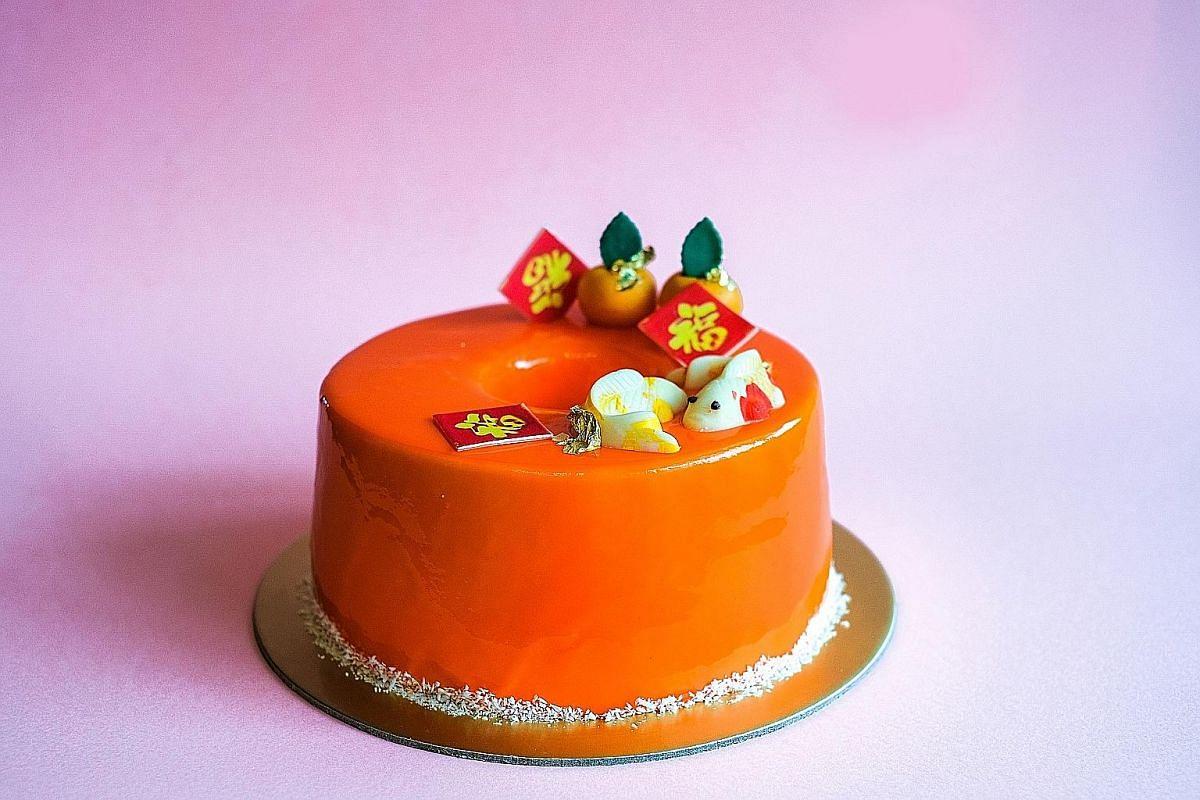 One Farrer Hotel's Orange Chocolate Chiffon Mousse Cake ($38) has Mandarin orange chiffon layered with mousse and coated in an orange glaze.