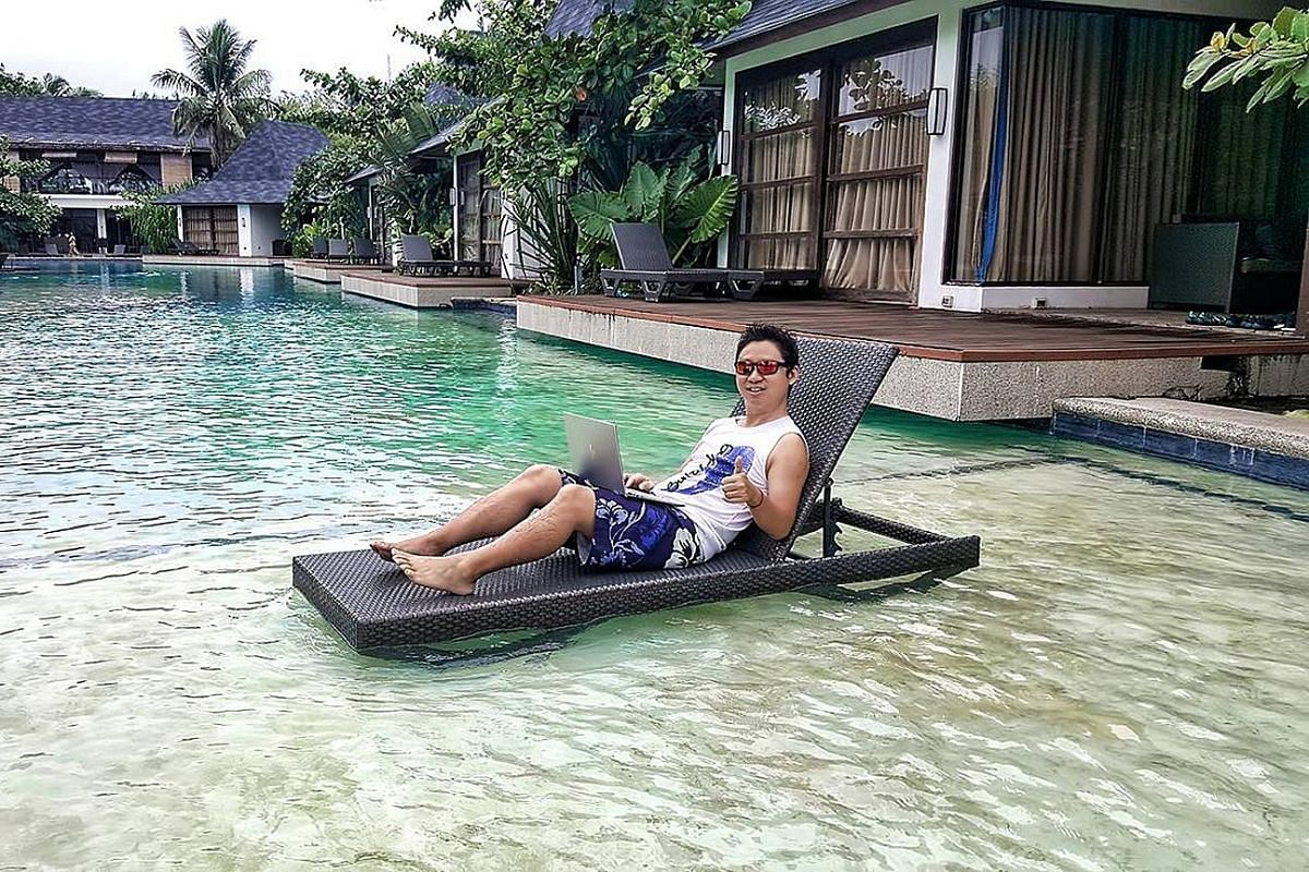 Mr Edmund Ng (above, at a resort in Siargao, the Philippines), director of video production and marketing company Reelmedia, has been working and travelling around South-east Asia since he founded the company in 2010.