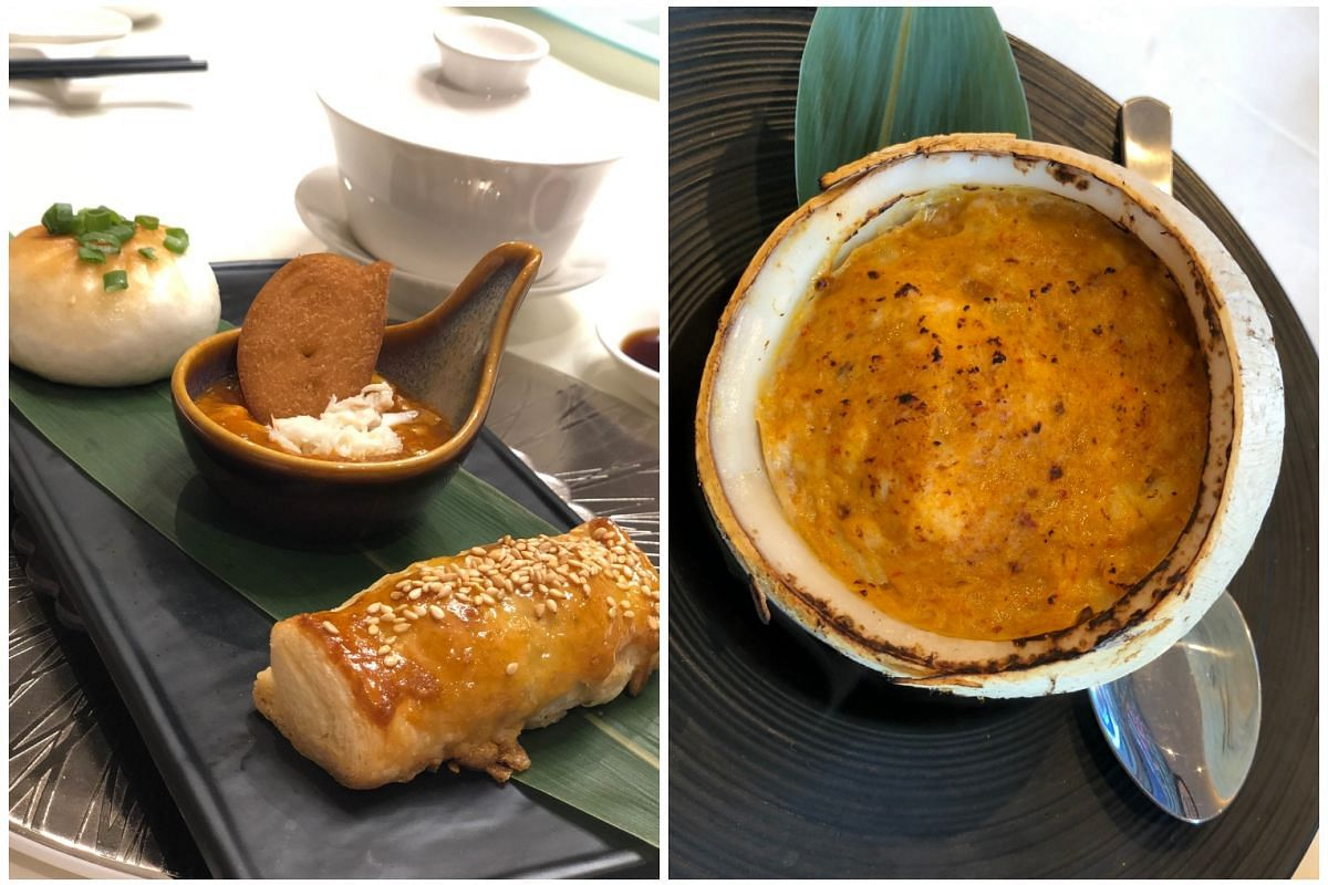 Pan-fried Jumbo Chilli Crab Bun, Chilli Crab Meat Sauce With Sliced Fried Mantou and Baked Jumbo Chilli Crab Puff (above, from left). Cod Fish Otah In Coconut (right).