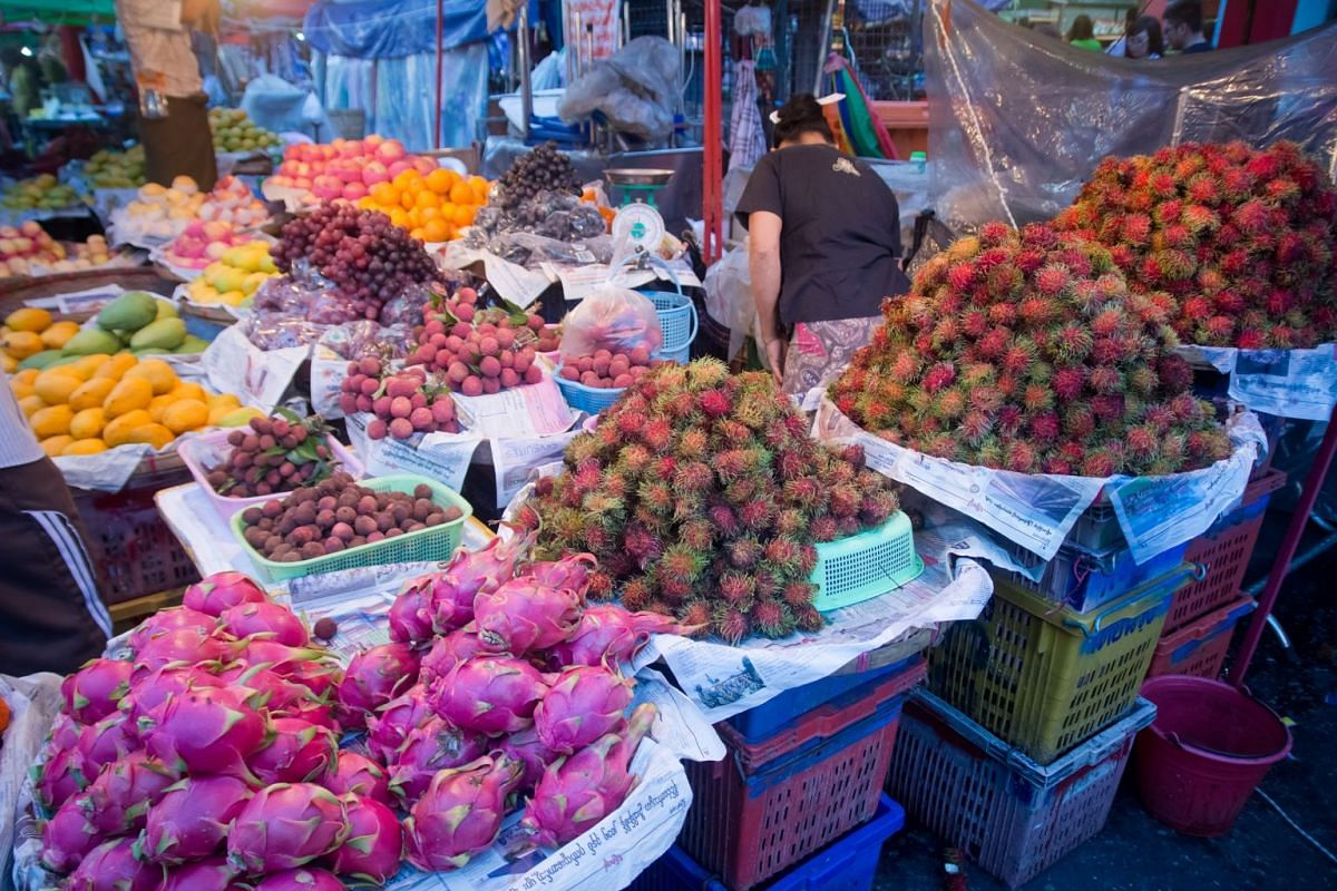 "The ""green season"" from June to September in Myanmar yields plenty of tasty fruits, which can be found in markets."