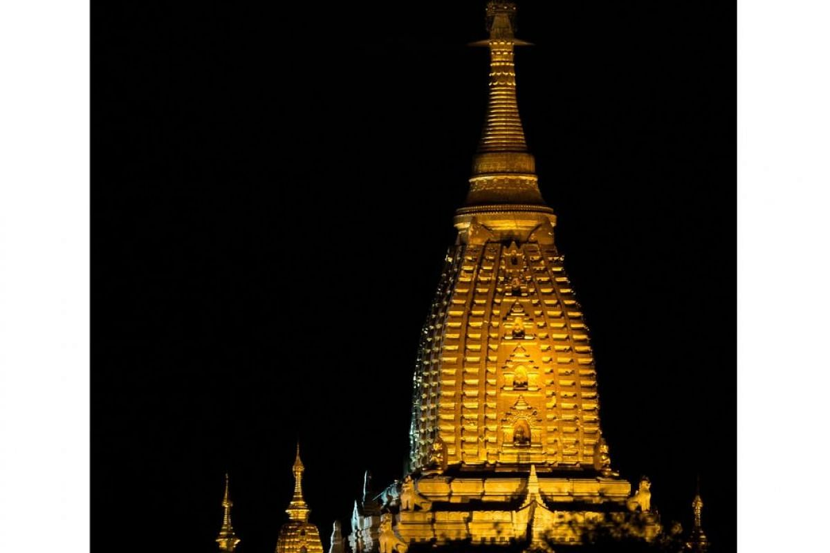 The Ananda Temple complex in Bagan is a sight to behold at night.