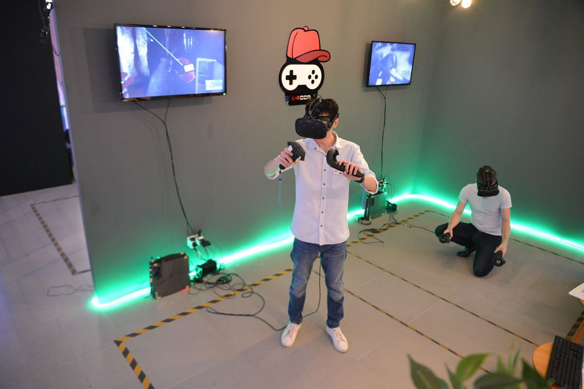 The virtual reality escape room game at Lockdown SG.