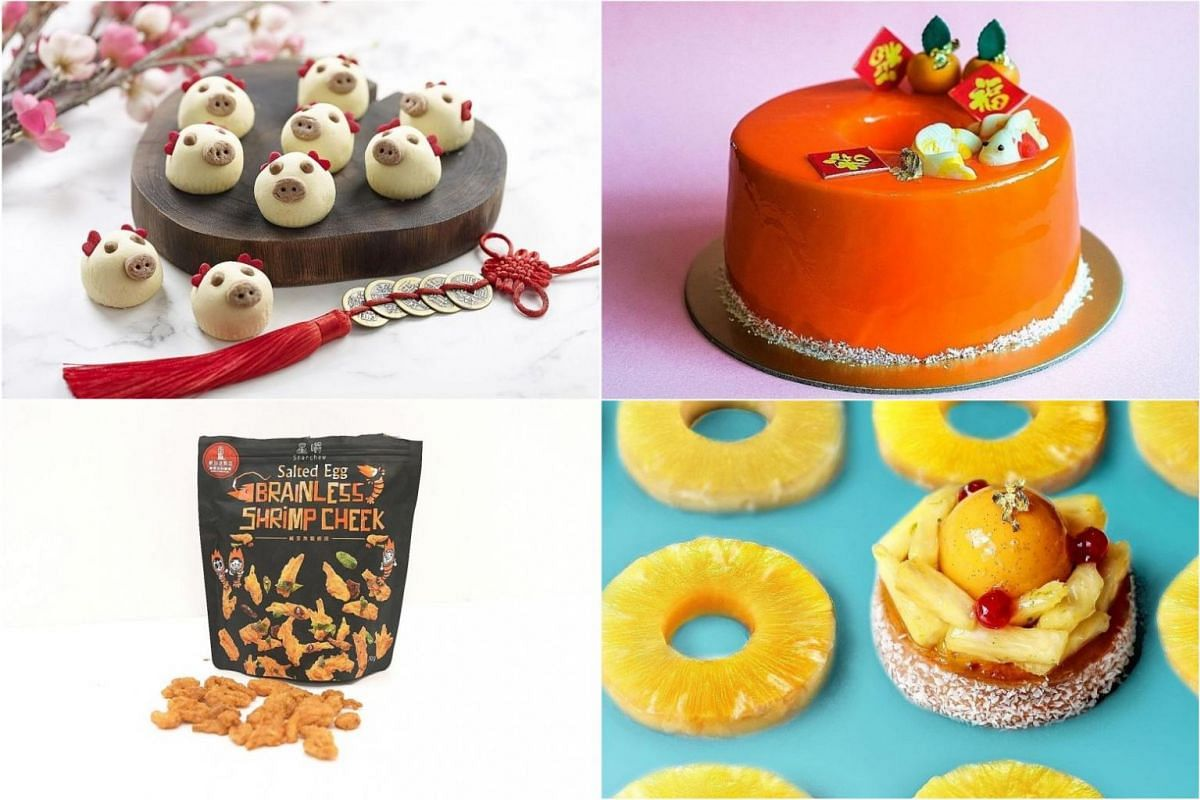 (Clockwise from top left) Paradise Group's piggy tarts, One Farrer Hotel's Orange Chocolate Chiffon Mousse Cake, Tiong Bahru Bakery's Lucky Pineapple Tart and Star Chew's Salted Egg Brainless Shrimp Cheek.