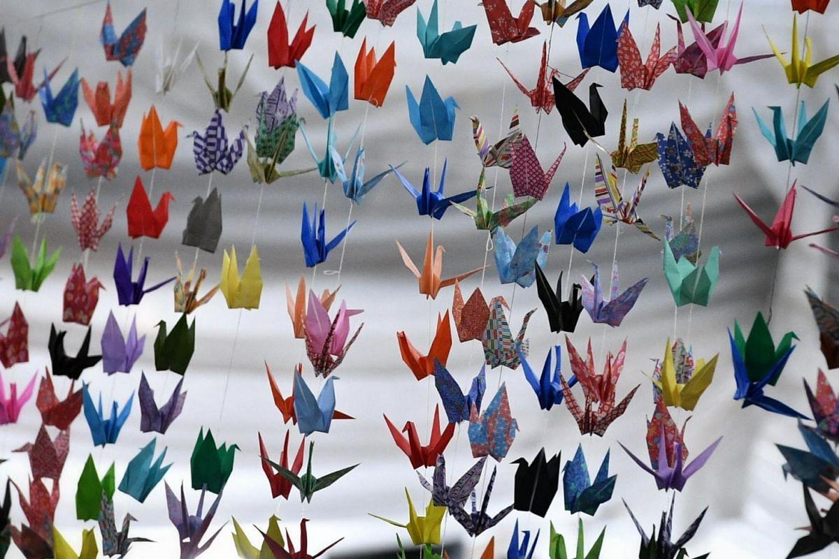Origami cranes are seen at the wake of actor Aloysius Pang, at 82A MacPherson Lane.